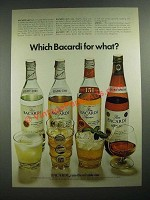 1970 Bacardi Light, Dark, 151 and Anejo Rum Ad - Which For What?