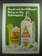 1971 Gilbey's Gin and Schweppes Tonic Water Ad - Break Out