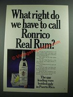 1975 Ronrico Rum Ad - What Right Do We Have to Call