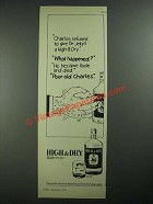 1977 High & Dry Gin Ad - Charles Refused to Give Dr. Jekyll