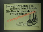 1977 Janneau Grand Armagnac Brandy Ad - Like Renoir is Ordinary