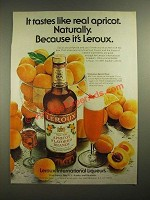 1980 Leroux Apricot Flavored Brandy Ad - It Tastes Like Real Apricot