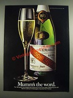 1982 Mumm Champagne Ad - Mumm's the Word