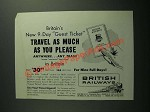1952 British Railways Ad - Travel As Much as You Please