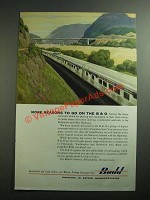 1954 Budd Rail Cars Ad - More Reasons to go on the B&O
