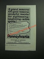 1954 Pennsylvania Department of Commerce Ad - 4 Grand Seasons