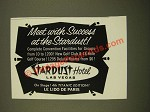 1962 Stardust Hotel Las Vegas Ad - Meet With Success at the Stardust