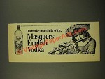 1968 Masquers English Vodka Ad - To Make Martinis With