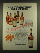 1970 Canadian Mist Whisky Ad - Of the Five Great Blends
