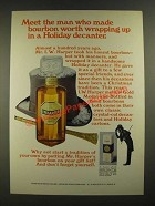 1970 I.W. Harper Bourbon Ad - Wrapping Up in a Holiday Decanter