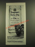 1970 Seagram's Extra Dry Gin Ad - Anchovy Stuffed Olives