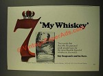 1970 Seagram's 7 Crown Whiskey Ad - My Whiskey
