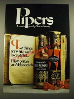 1971 Seagram's 100 Pipers Scotch Ad - It's Made Proudly