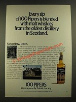 1971 Seagram's 100 Pipers Scotch Ad - Every Sip is Blended with Malt Whiskies
