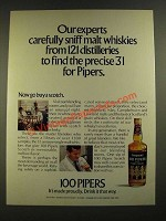 1971 Seagram's 100 Pipers Scotch Ad - Carefully Sniff Malt Whiskies