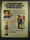 1971 Canadian Mist Whisky Ad - You Don't Have to Learn to Like It