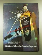 1977 Lord Calvert Canadian Whisky Ad - Gift Givers Follow the Canadian Superstar