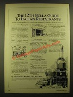 1978 Bolla Wine Ad - 12th Guide to Italian Restaurants