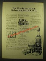 1978 Bolla Wine Ad - 11th Guide to Italian Restaurants