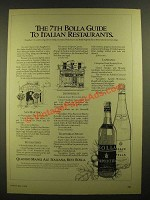 1978 Bolla Wine Ad - 7th Guide to Italian Restaurants