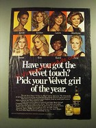 1979 Black Velvet Whisky Ad - Pick Your Velvet Girl of the Year