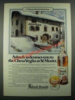 1980 Asbach Brandy Ad - The Chesa Veglia at St Moritz