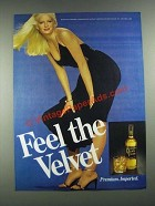 1981 Black Velvet Whisky Ad - Feel the Velvet