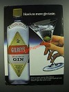1983 Gilbey's Gin Ad - To more Gin Taste