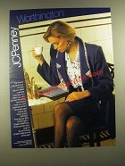1988 JCPenney Worthington Jacket, Knee-grazer Skirt and Print Blouse Ad