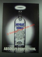 1988 Absolut Vodka Ad - Absolut Perfection