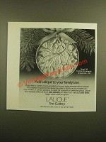 1988 Lalique Noel '88 Crystal Ornament Ad - Add To Your Family Tree