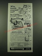 1976 Arrow Model T-50 Staple Gun Ad - Why Knock Yourself Out?