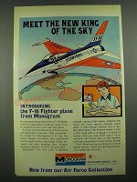 1976 Monogram F-16 Fighter Plane Model Ad - New King of the Sky