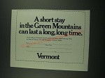 1974 Vermont Tourism Ad - Short Stay in the Green Mountains