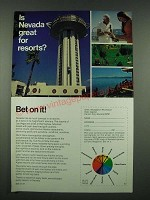 1970 Nevada Tourism Ad - Is Nevada Great for Resorts? Bet on it!