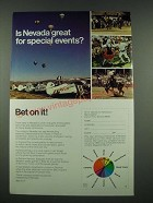 1970 Nevada Tourism Ad - Is Nevada Great For Special Events? Bet on it!