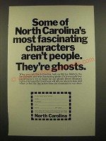 1968 North Carolina Tourism Ad - Most Fascinating Characters Ghosts