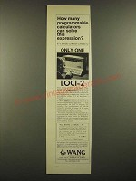 1966 Wang LOCI-2 Programmable Calculator Ad - Solve This Expression