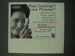 1966 Minox Camera Ad - Hate Cameras? Love Pictures?