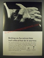 1965 Bulova Accutron Astronaut H Watch Ad - Betting Isn't Ethical