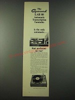 1965 Garrard Lab 80 Automatic Transcription Turntable Ad - On Cue