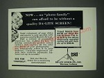 1961 Da-Lite Screen Ad - No Photo Family Can afford to be Without