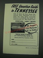 1960 Tennessee Tourism Ad - Free Vacation Guide to Tennessee