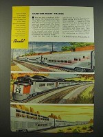 1956 Budd Train Ad - Pennsylvania, New Haven and Santa Fe Trains