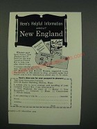 1956 New England Tourism Ad - Here's Helpful Information