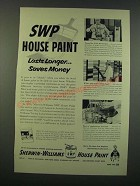 1954 Sherwin-Williams House Paint Ad - SWP Lasts Longer Saves Money