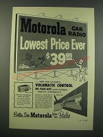 1954 Motorola Model 554 Car Radio Ad - Lowest Price Ever