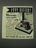 1954 Beauty Appliance Corp. Vibrosage Electric Massager Ad