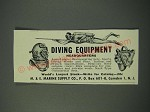 1954 M. & E. Marine Supply Ad - Diving Equipment Headquarters