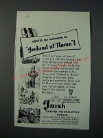 1952 Irish Tourist Information Bureau Ad - You'll Be Welcome to Ireland at Home